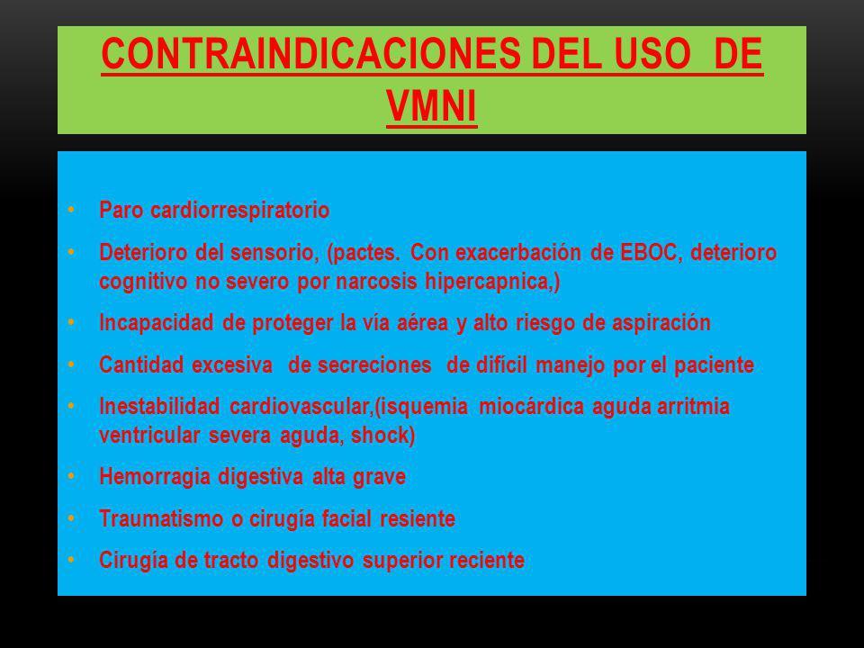CONTRAINDICACIONES DEL USO DE VMNI Paro cardiorrespiratorio Deterioro del sensorio, (pactes. Con exacerbación de EBOC, deterioro cognitivo no severo p