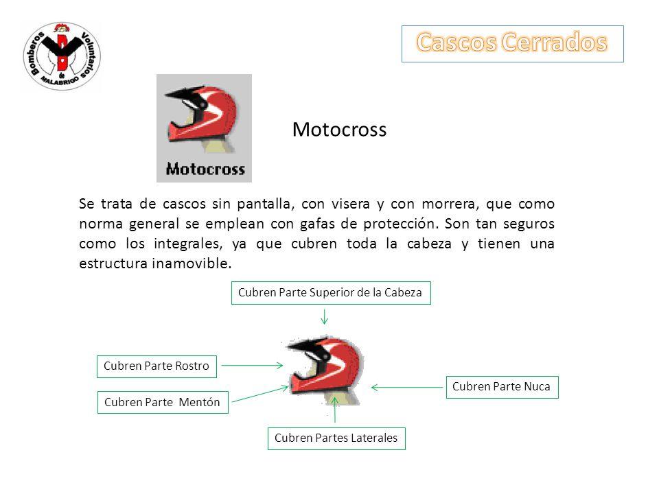 Motocross Se trata de cascos sin pantalla, con visera y con morrera, que como norma general se emplean con gafas de protección. Son tan seguros como l