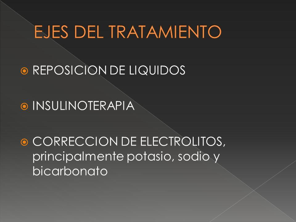 REPOSICION DE LIQUIDOS INSULINOTERAPIA CORRECCION DE ELECTROLITOS, principalmente potasio, sodio y bicarbonato