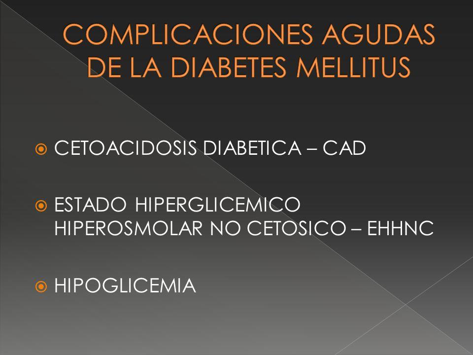 CETOACIDOSIS DIABETICA – CAD ESTADO HIPERGLICEMICO HIPEROSMOLAR NO CETOSICO – EHHNC HIPOGLICEMIA