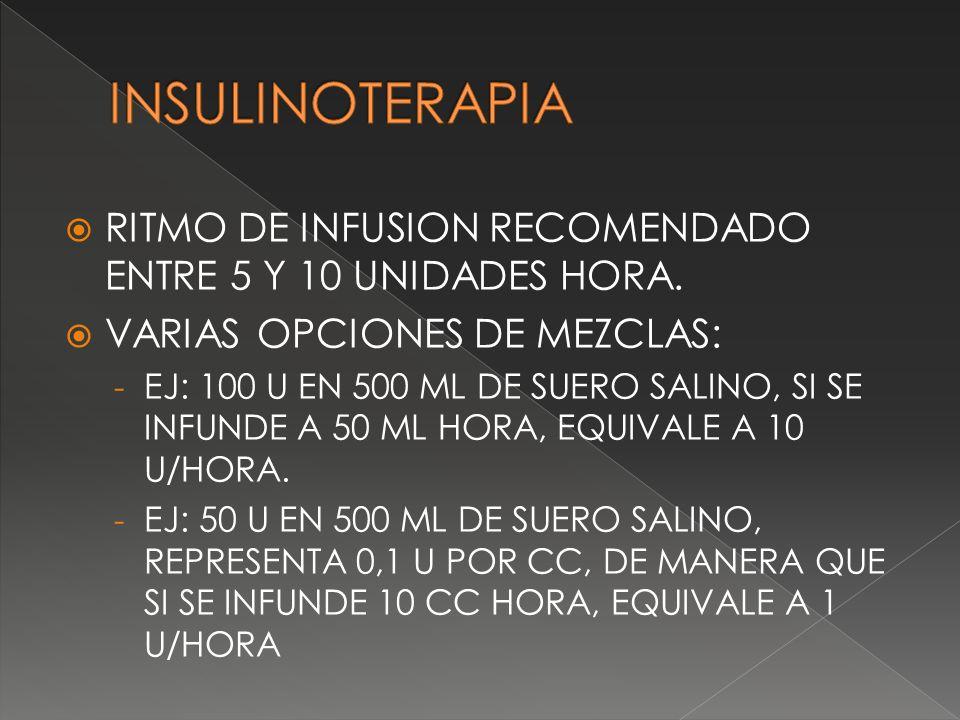 RITMO DE INFUSION RECOMENDADO ENTRE 5 Y 10 UNIDADES HORA. VARIAS OPCIONES DE MEZCLAS: - EJ: 100 U EN 500 ML DE SUERO SALINO, SI SE INFUNDE A 50 ML HOR