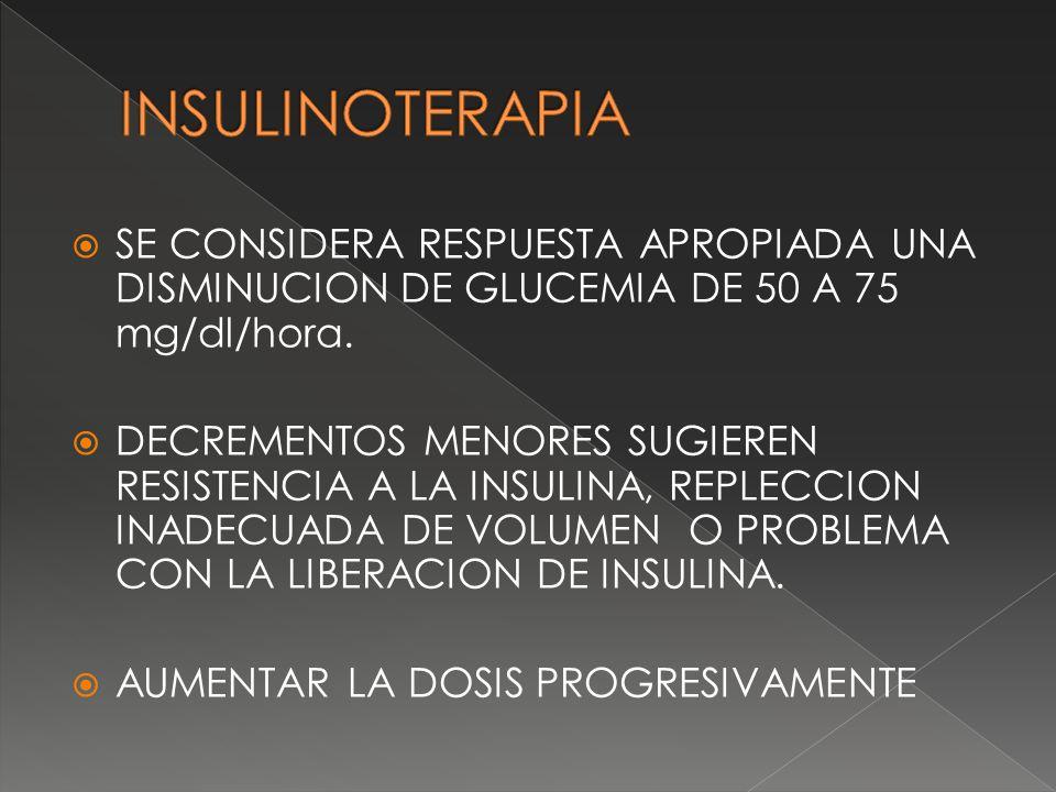 SE CONSIDERA RESPUESTA APROPIADA UNA DISMINUCION DE GLUCEMIA DE 50 A 75 mg/dl/hora. DECREMENTOS MENORES SUGIEREN RESISTENCIA A LA INSULINA, REPLECCION
