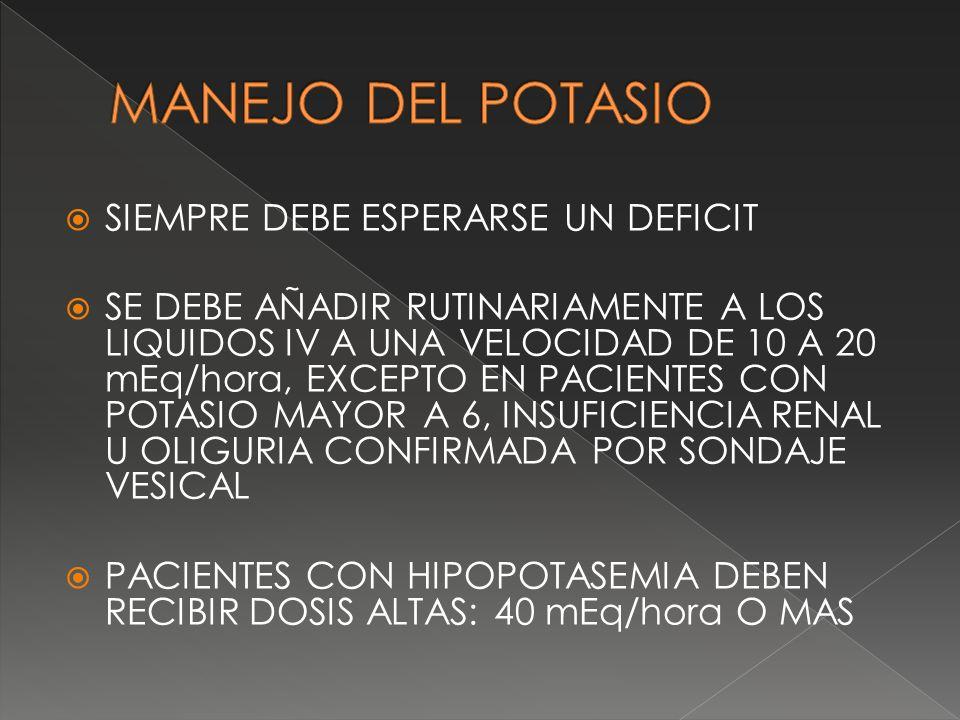 SIEMPRE DEBE ESPERARSE UN DEFICIT SE DEBE AÑADIR RUTINARIAMENTE A LOS LIQUIDOS IV A UNA VELOCIDAD DE 10 A 20 mEq/hora, EXCEPTO EN PACIENTES CON POTASI