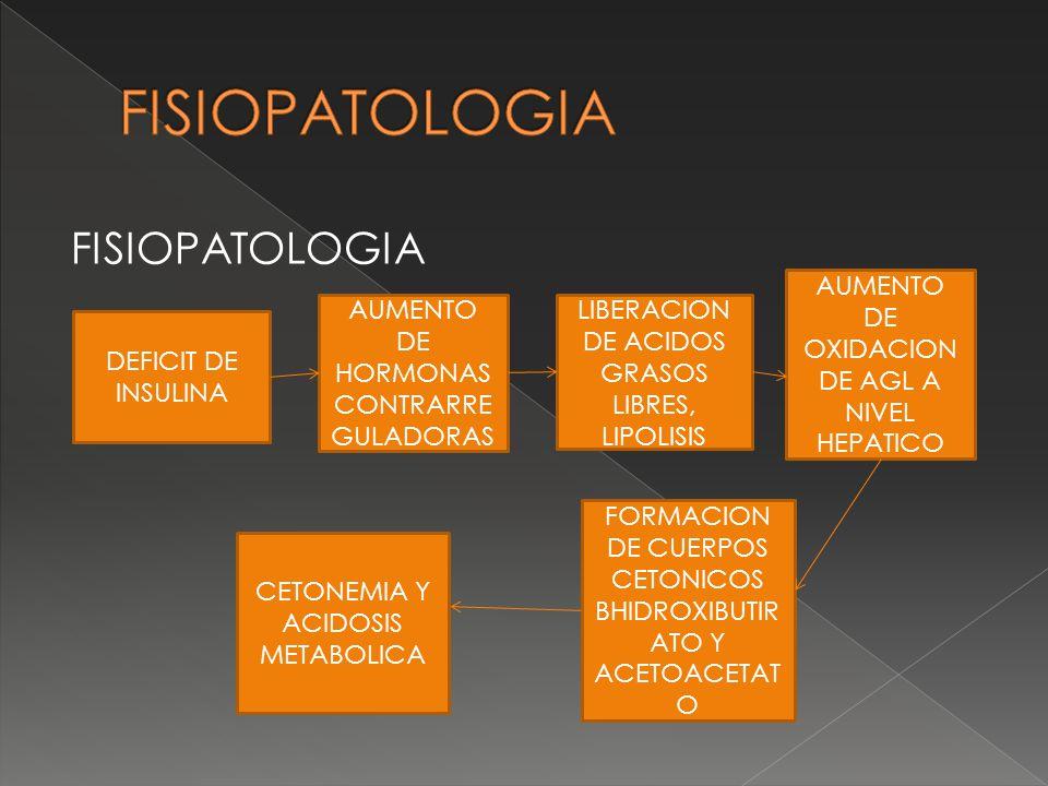 FISIOPATOLOGIA DEFICIT DE INSULINA AUMENTO DE HORMONAS CONTRARRE GULADORAS LIBERACION DE ACIDOS GRASOS LIBRES, LIPOLISIS AUMENTO DE OXIDACION DE AGL A