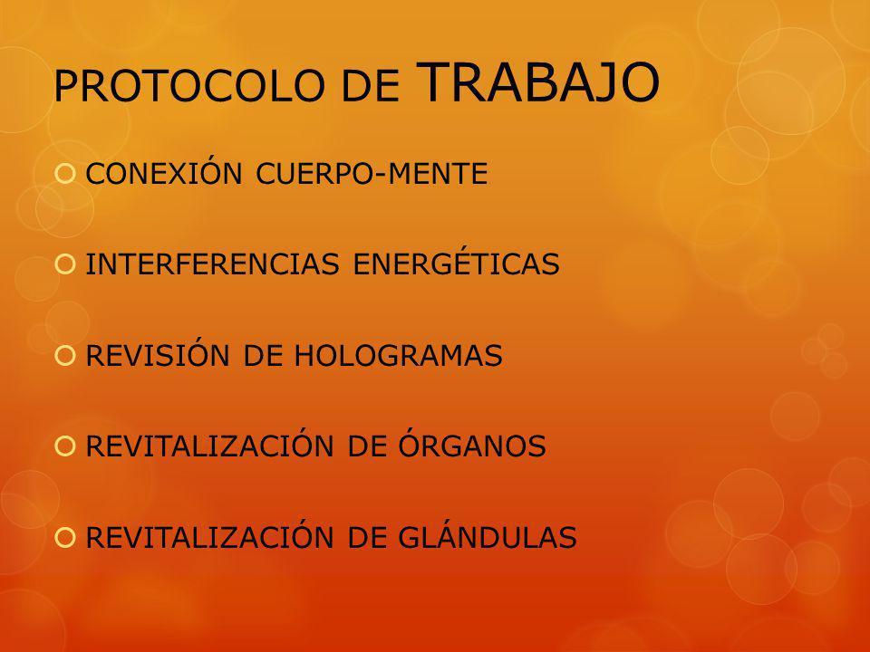CONEXIÓN CUERPO-MENTE INTERFERENCIAS ENERGÉTICAS REVISIÓN DE HOLOGRAMAS REVITALIZACIÓN DE ÓRGANOS REVITALIZACIÓN DE GLÁNDULAS PROTOCOLO DE TRABAJO