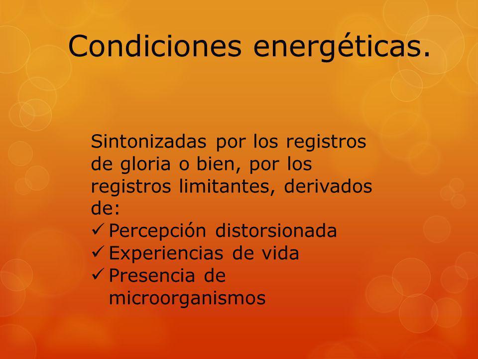 Condiciones energéticas. Sintonizadas por los registros de gloria o bien, por los registros limitantes, derivados de: Percepción distorsionada Experie
