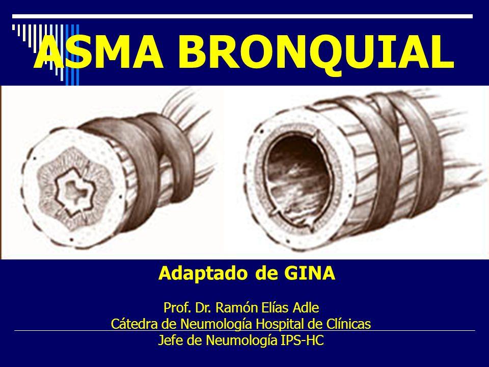 ASMA BRONQUIAL Adaptado de GINA Prof. Dr. Ramón Elías Adle Cátedra de Neumología Hospital de Clínicas Jefe de Neumología IPS-HC