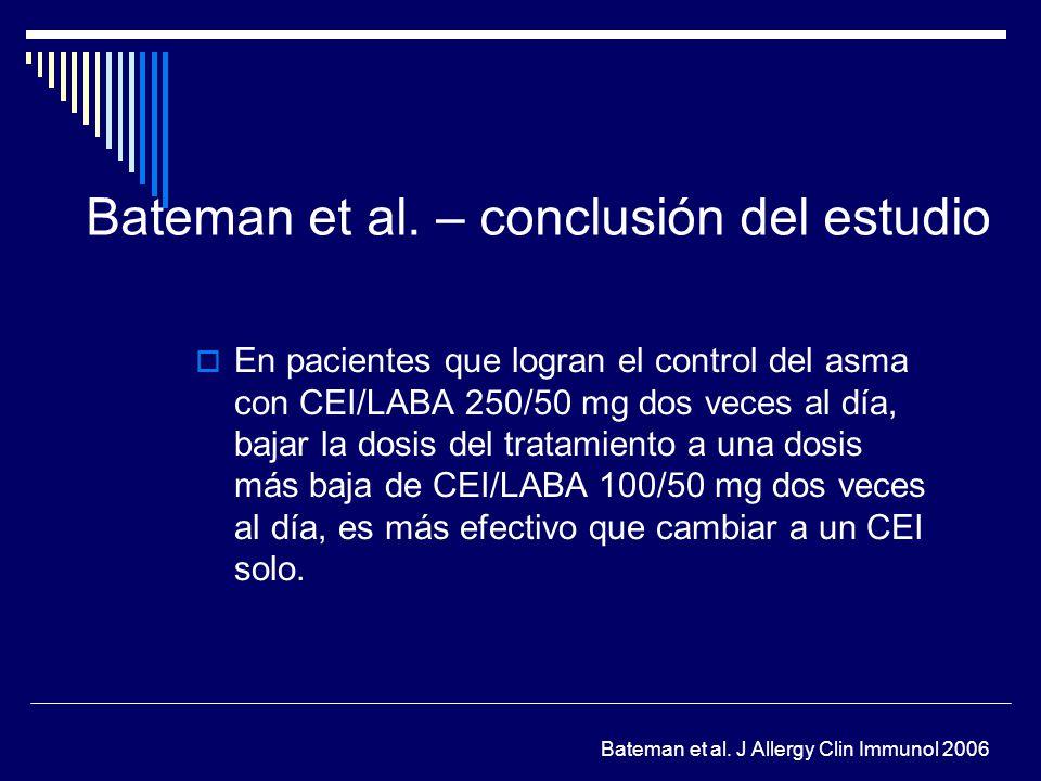 Bateman et al. – conclusión del estudio En pacientes que logran el control del asma con CEI/LABA 250/50 mg dos veces al día, bajar la dosis del tratam
