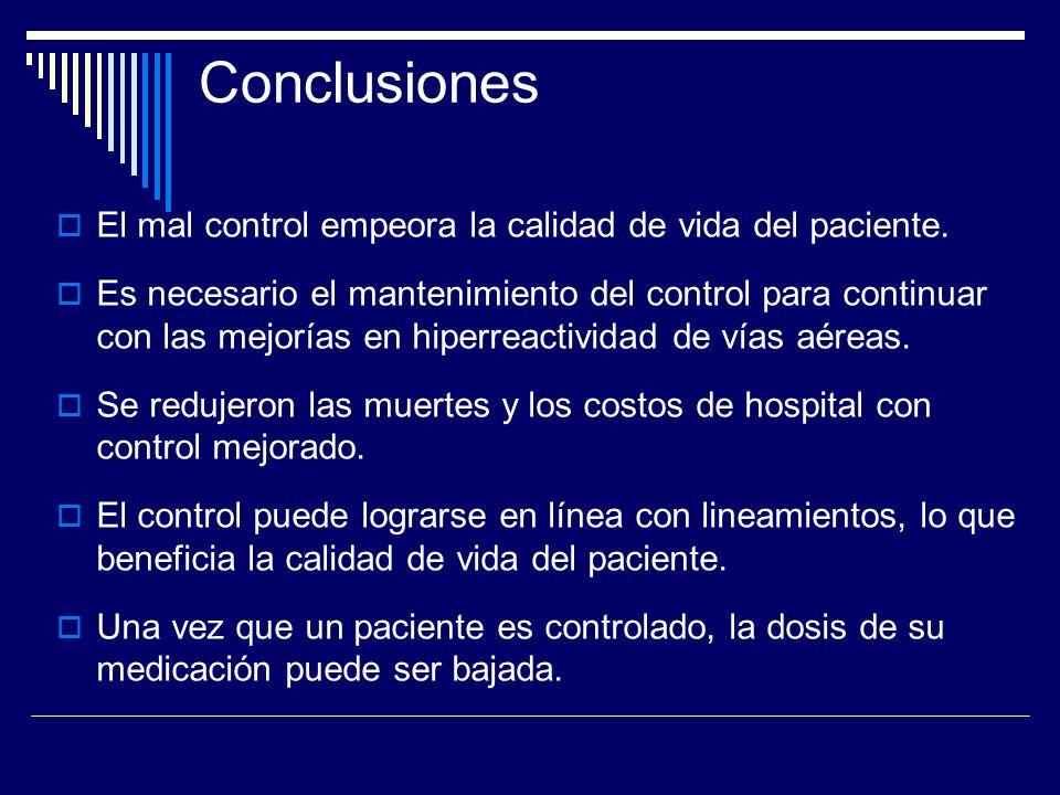 Conclusiones El mal control empeora la calidad de vida del paciente. Es necesario el mantenimiento del control para continuar con las mejorías en hipe