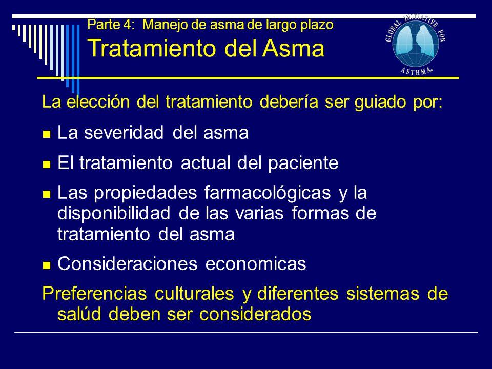 Parte 4: Manejo de asma de largo plazo Tratamiento del Asma La elección del tratamiento debería ser guiado por: La severidad del asma El tratamiento a