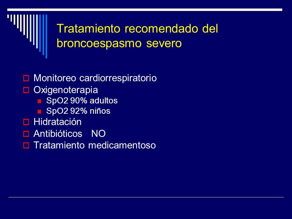 Tratamiento recomendado del broncoespasmo severo Monitoreo cardiorrespiratorio Oxigenoterapia SpO2 90% adultos SpO2 92% niños Hidratación Antibióticos