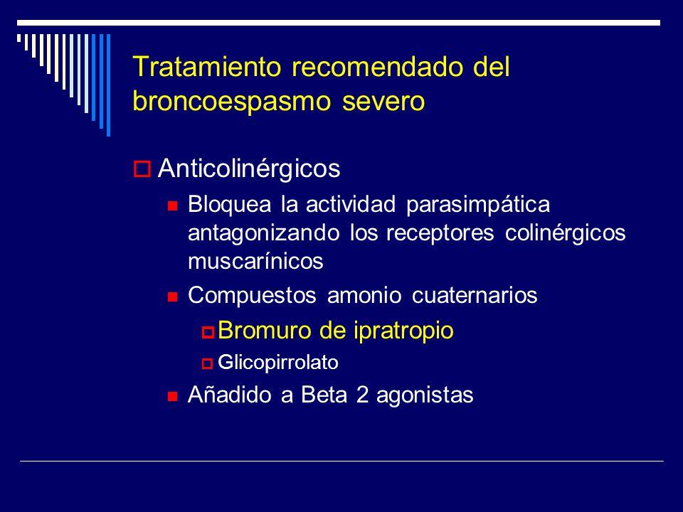 Tratamiento recomendado del broncoespasmo severo Anticolinérgicos Bloquea la actividad parasimpática antagonizando los receptores colinérgicos muscarí