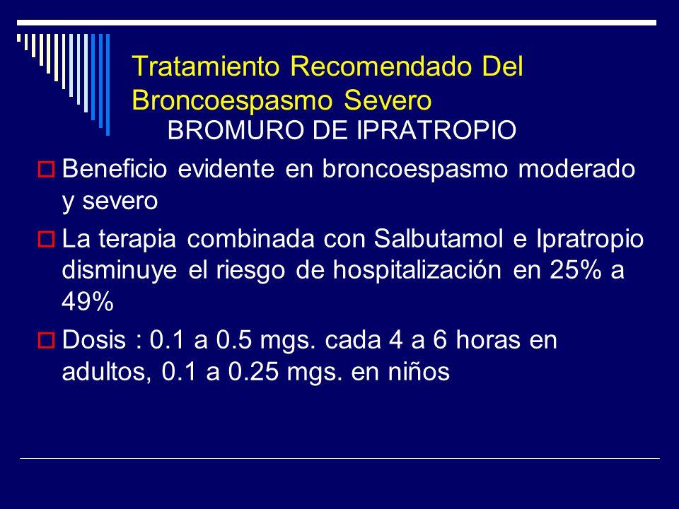 Tratamiento Recomendado Del Broncoespasmo Severo BROMURO DE IPRATROPIO Beneficio evidente en broncoespasmo moderado y severo La terapia combinada con