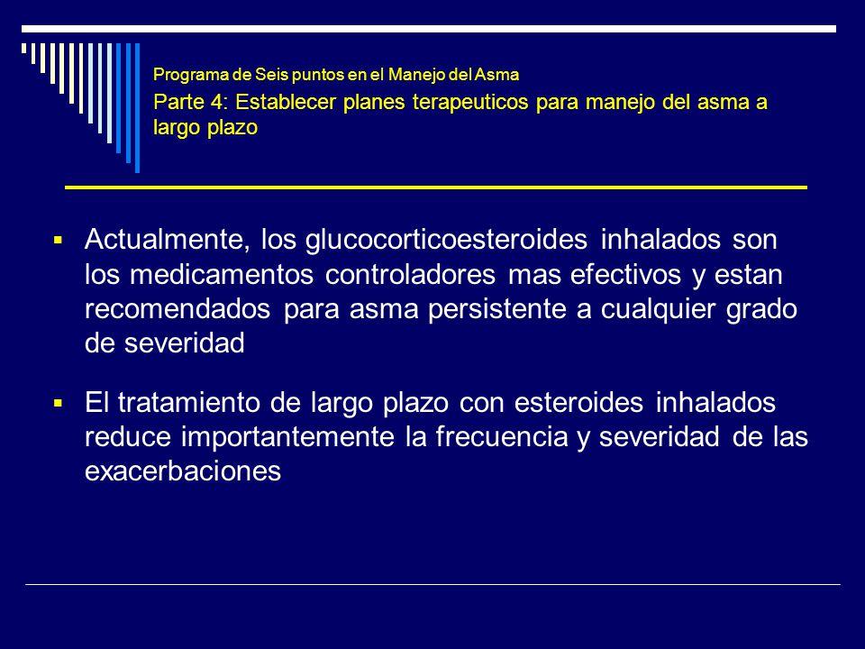 Programa de Seis puntos en el Manejo del Asma Parte 4: Establecer planes terapeuticos para manejo del asma a largo plazo Actualmente, los glucocortico