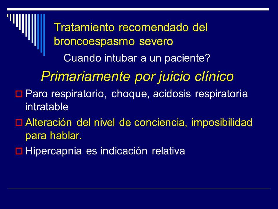 Tratamiento recomendado del broncoespasmo severo Cuando intubar a un paciente? Primariamente por juicio clínico Paro respiratorio, choque, acidosis re