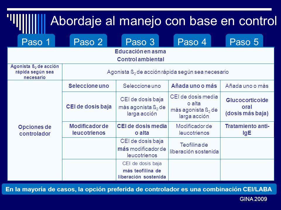 Paso 1Paso 2Paso 3Paso 4Paso 5 CEI de dosis baja más teofilina de liberación sostenida Teofilina de liberación sostenida CEI de dosis baja más modific