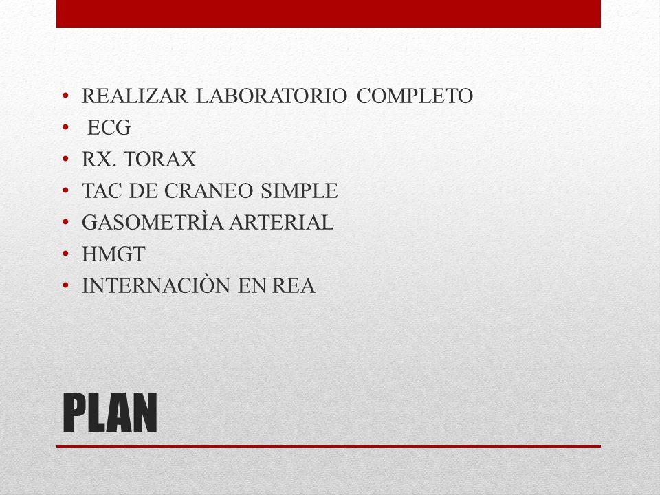 PLAN REALIZAR LABORATORIO COMPLETO ECG RX. TORAX TAC DE CRANEO SIMPLE GASOMETRÌA ARTERIAL HMGT INTERNACIÒN EN REA
