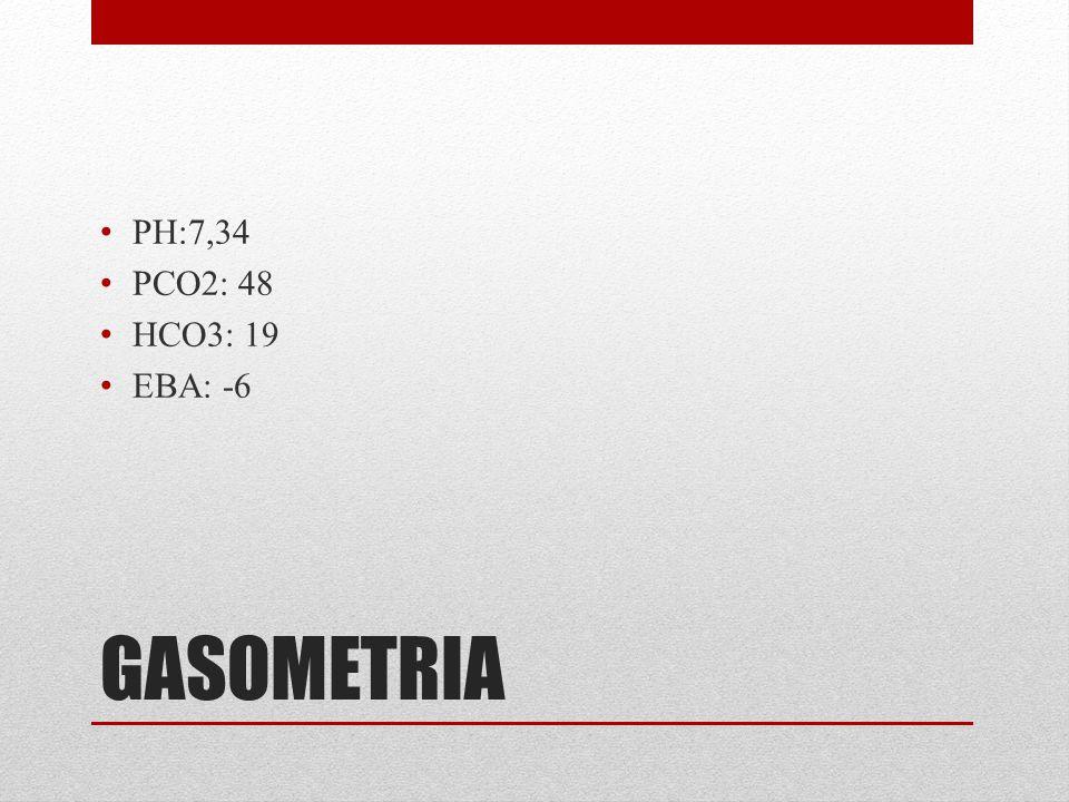GASOMETRIA PH:7,34 PCO2: 48 HCO3: 19 EBA: -6