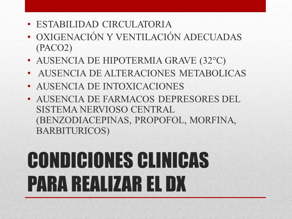 CONDICIONES CLINICAS PARA REALIZAR EL DX ESTABILIDAD CIRCULATORIA OXIGENACIÓN Y VENTILACIÓN ADECUADAS (PACO2) AUSENCIA DE HIPOTERMIA GRAVE (32°C) AUSE