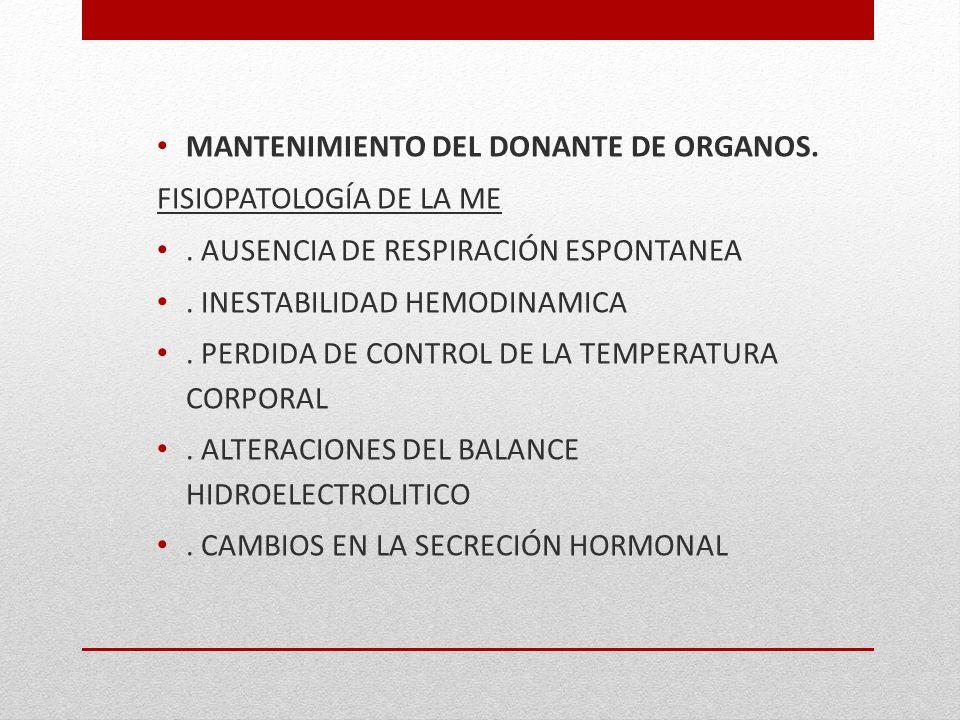 MANTENIMIENTO DEL DONANTE DE ORGANOS. FISIOPATOLOGÍA DE LA ME. AUSENCIA DE RESPIRACIÓN ESPONTANEA. INESTABILIDAD HEMODINAMICA. PERDIDA DE CONTROL DE L