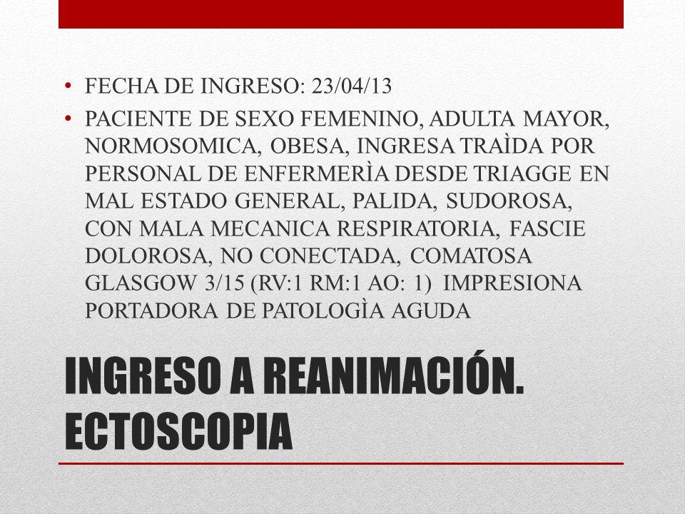 INGRESO A REANIMACIÓN. ECTOSCOPIA FECHA DE INGRESO: 23/04/13 PACIENTE DE SEXO FEMENINO, ADULTA MAYOR, NORMOSOMICA, OBESA, INGRESA TRAÌDA POR PERSONAL