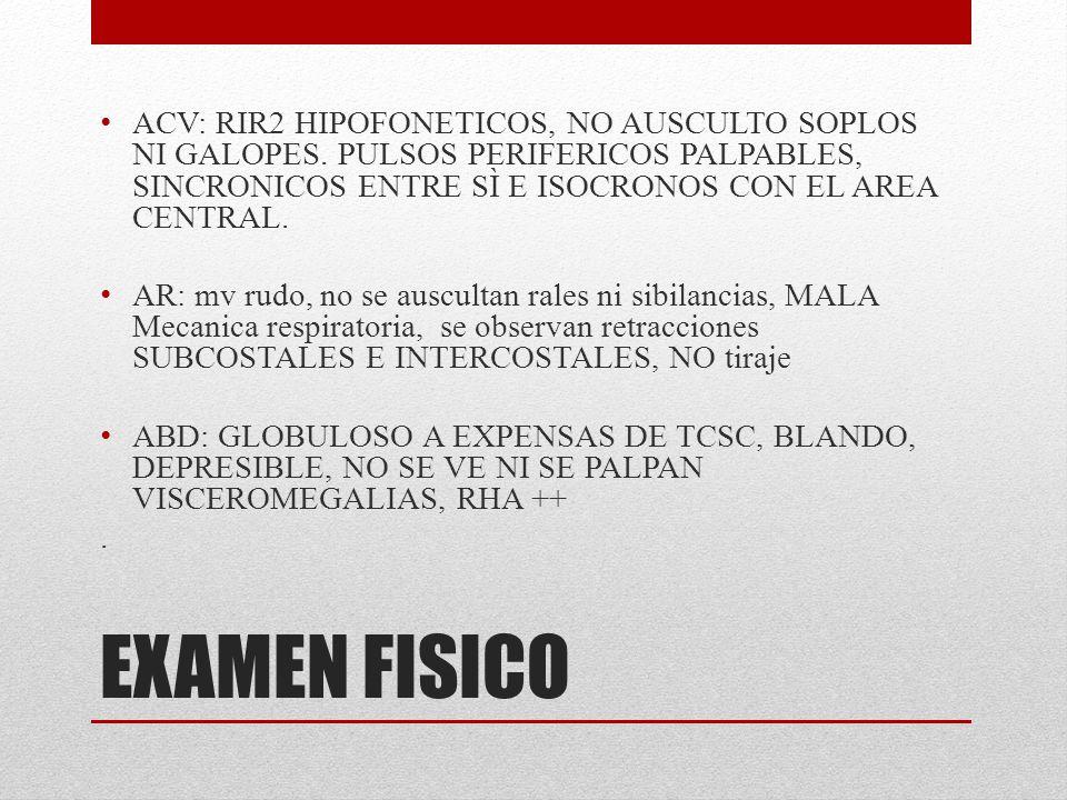 EXAMEN FISICO SNC: PACIENTE NO CONECTADA, GLASGOW 3/15.