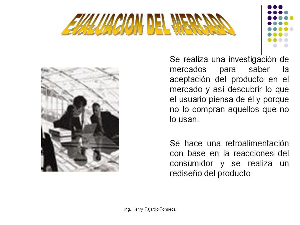 Ing. Henry Fajardo Fonseca Se realiza una investigación de mercados para saber la aceptación del producto en el mercado y así descubrir lo que el usua