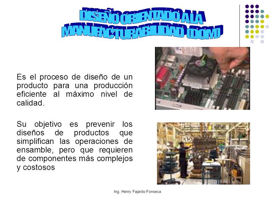 Ing. Henry Fajardo Fonseca Es el proceso de diseño de un producto para una producción eficiente al máximo nivel de calidad. Su objetivo es prevenir lo