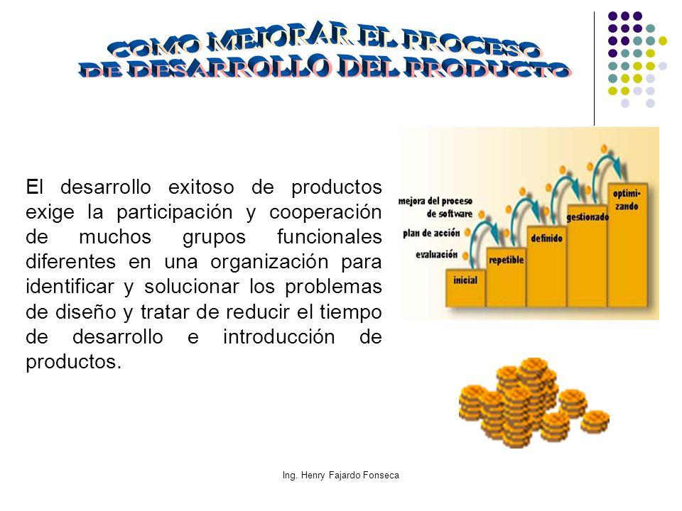 Ing. Henry Fajardo Fonseca El desarrollo exitoso de productos exige la participación y cooperación de muchos grupos funcionales diferentes en una orga