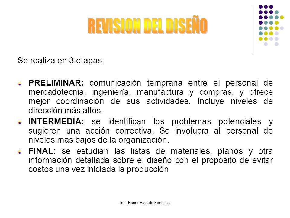 Ing. Henry Fajardo Fonseca Se realiza en 3 etapas: PRELIMINAR: comunicación temprana entre el personal de mercadotecnia, ingeniería, manufactura y com