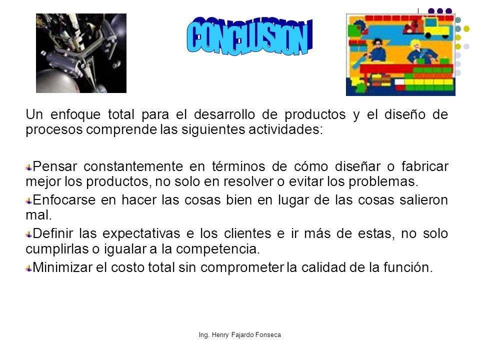 Ing. Henry Fajardo Fonseca Un enfoque total para el desarrollo de productos y el diseño de procesos comprende las siguientes actividades: Pensar const
