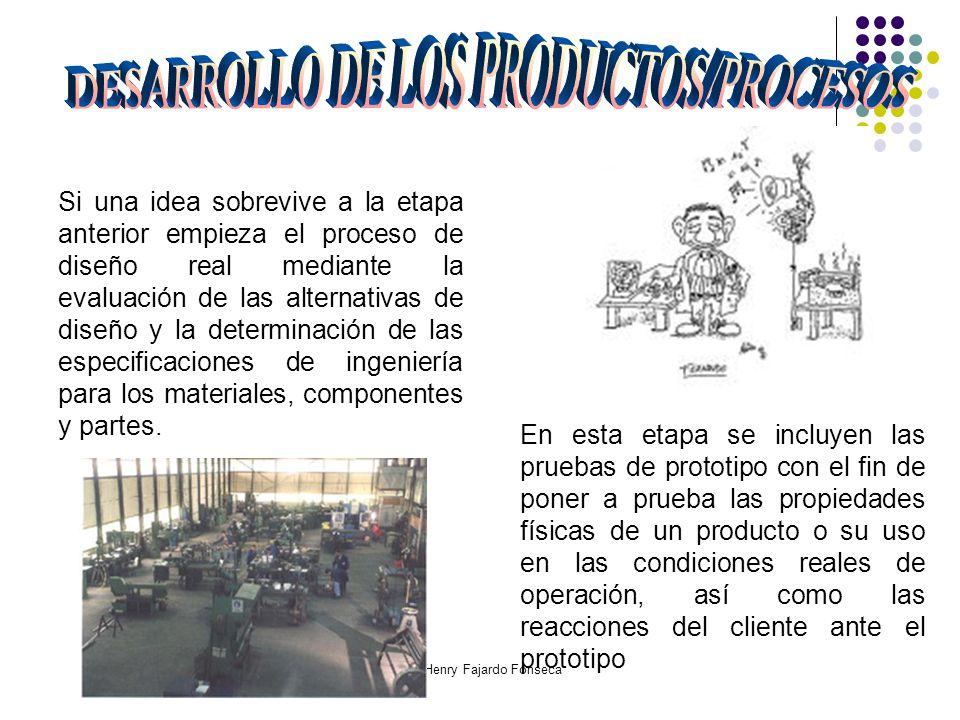 Ing. Henry Fajardo Fonseca Si una idea sobrevive a la etapa anterior empieza el proceso de diseño real mediante la evaluación de las alternativas de d