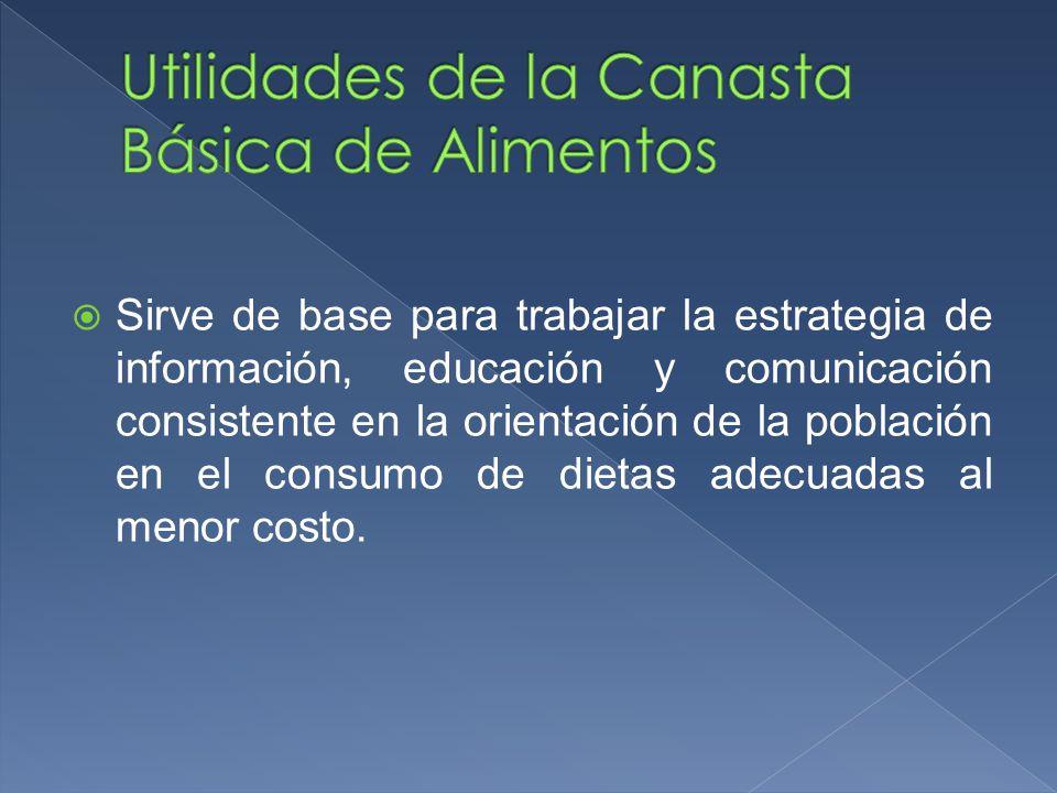 Sirve de base para trabajar la estrategia de información, educación y comunicación consistente en la orientación de la población en el consumo de diet