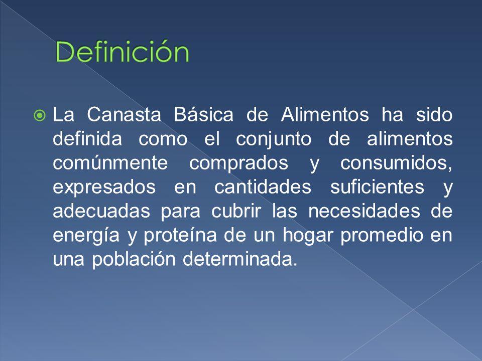 La Canasta Básica de Alimentos ha sido definida como el conjunto de alimentos comúnmente comprados y consumidos, expresados en cantidades suficientes