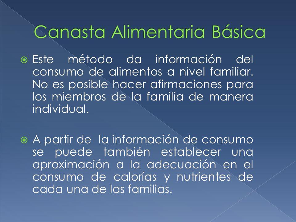 Este método da información del consumo de alimentos a nivel familiar. No es posible hacer afirmaciones para los miembros de la familia de manera indiv