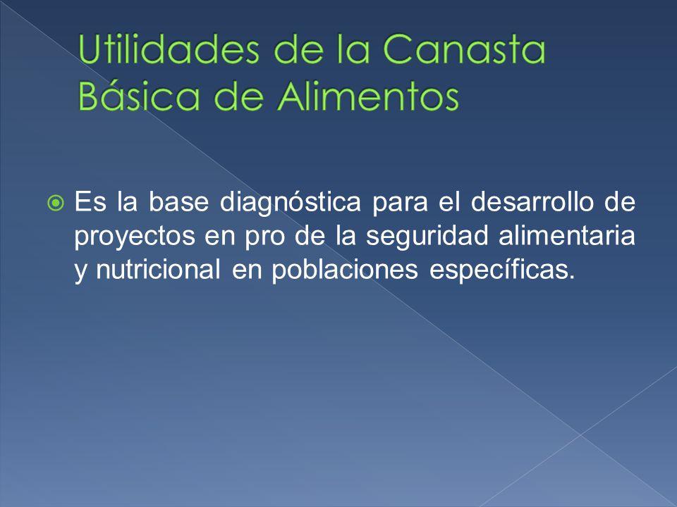 Es la base diagnóstica para el desarrollo de proyectos en pro de la seguridad alimentaria y nutricional en poblaciones específicas.