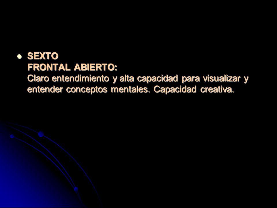 SEXTO FRONTAL ABIERTO: Claro entendimiento y alta capacidad para visualizar y entender conceptos mentales.