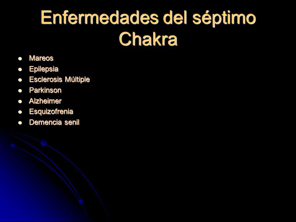 Enfermedades del séptimo Chakra Mareos Mareos Epilepsia Epilepsia Esclerosis Múltiple Esclerosis Múltiple Parkinson Parkinson Alzheimer Alzheimer Esquizofrenia Esquizofrenia Demencia senil Demencia senil