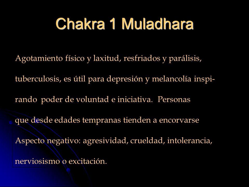 Chakra 1 Muladhara Agotamiento físico y laxitud, resfriados y parálisis, tuberculosis, es útil para depresión y melancolía inspi- rando poder de voluntad e iniciativa.