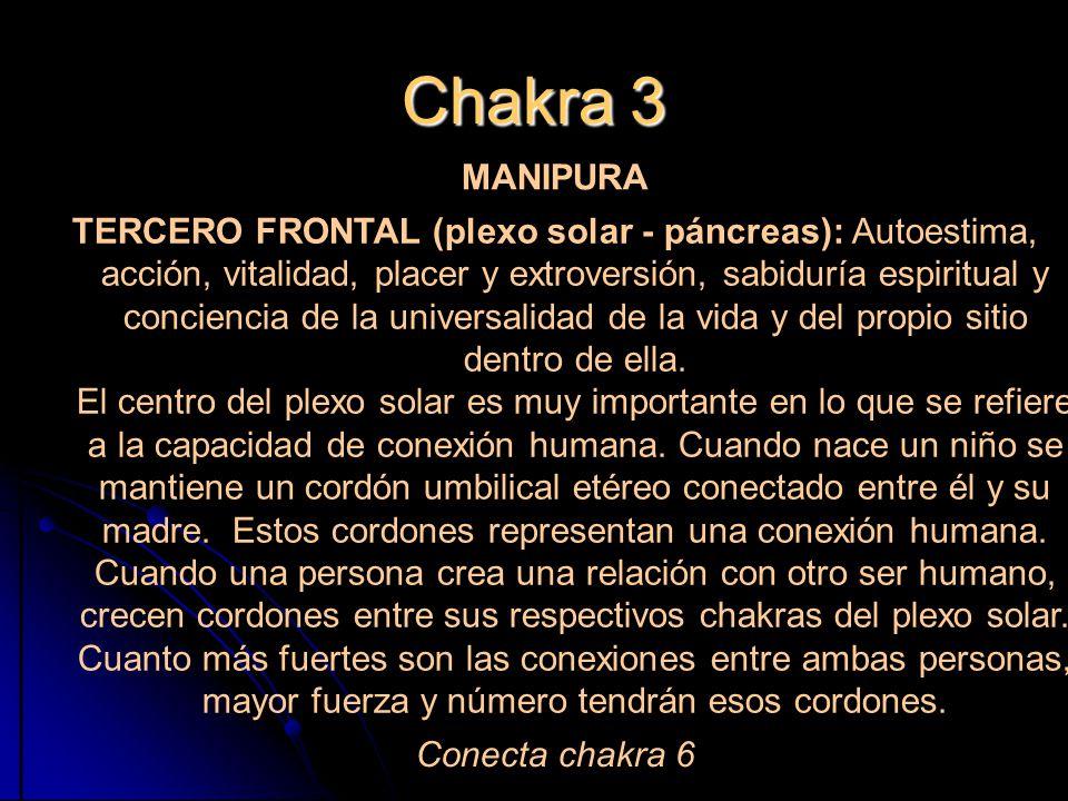 Chakra 3 MANIPURA TERCERO FRONTAL (plexo solar - páncreas): Autoestima, acción, vitalidad, placer y extroversión, sabiduría espiritual y conciencia de la universalidad de la vida y del propio sitio dentro de ella.