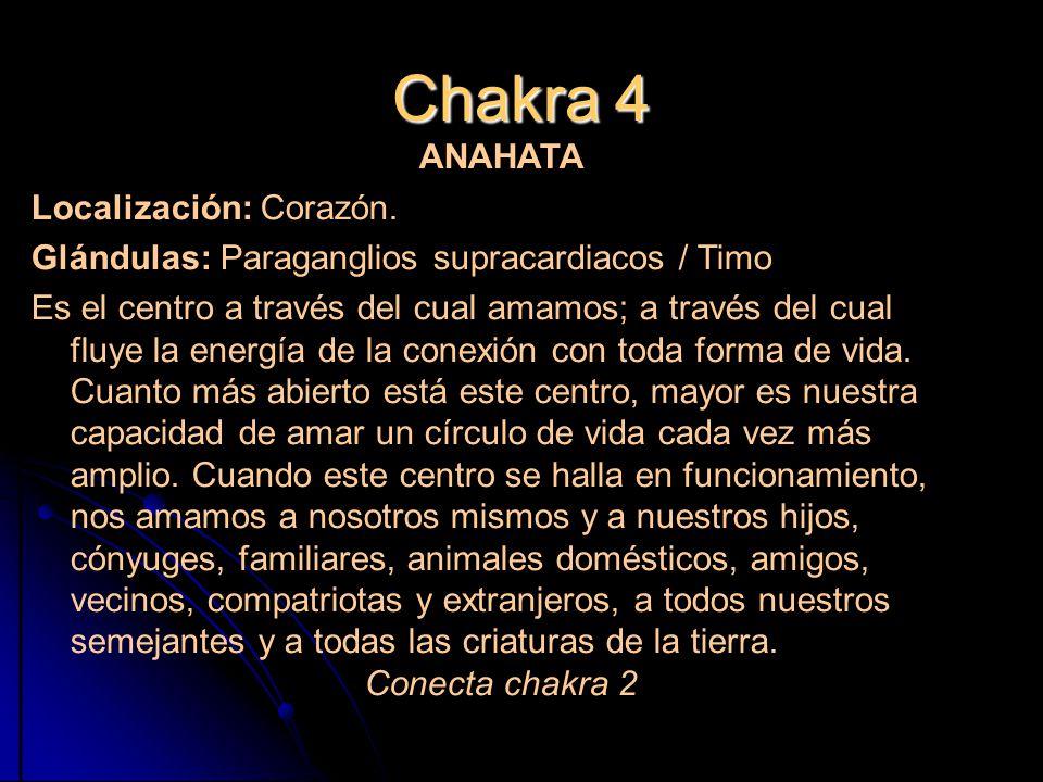 Chakra 4 ANAHATA Localización: Corazón.