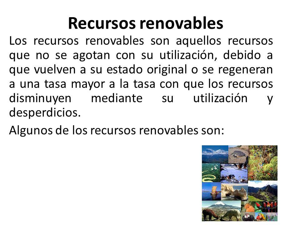 Recursos renovables Los recursos renovables son aquellos recursos que no se agotan con su utilización, debido a que vuelven a su estado original o se