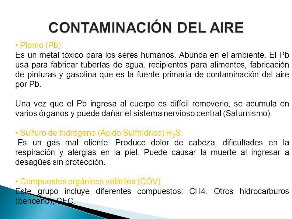 Plomo (Pb): Es un metal tóxico para los seres humanos. Abunda en el ambiente. El Pb usa para fabricar tuberías de agua, recipientes para alimentos, fa