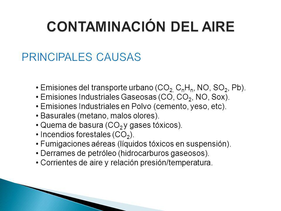Emisiones del transporte urbano (CO 2, C n H n, NO, SO 2, Pb).