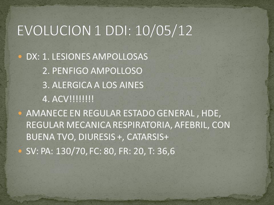 DX: 1. LESIONES AMPOLLOSAS 2. PENFIGO AMPOLLOSO 3. ALERGICA A LOS AINES 4. ACV!!!!!!!! AMANECE EN REGULAR ESTADO GENERAL, HDE, REGULAR MECANICA RESPIR