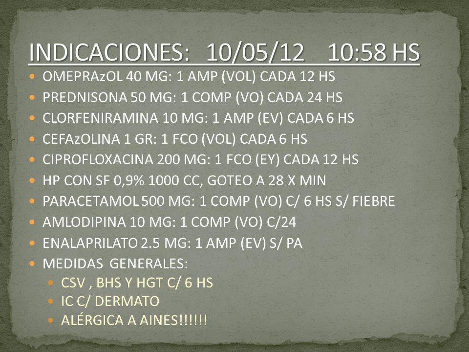 OMEPRAzOL 40 MG: 1 AMP (VOL) CADA 12 HS PREDNISONA 50 MG: 1 COMP (VO) CADA 24 HS CLORFENIRAMINA 10 MG: 1 AMP (EV) CADA 6 HS CEFAzOLINA 1 GR: 1 FCO (VO