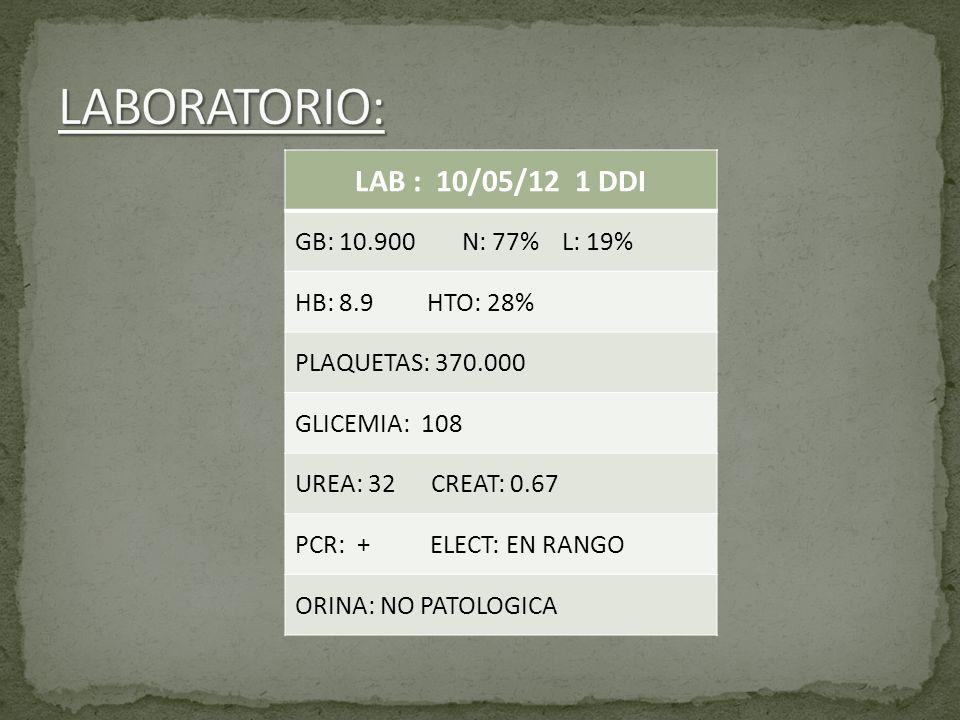 LAB : 10/05/12 1 DDI GB: 10.900 N: 77% L: 19% HB: 8.9 HTO: 28% PLAQUETAS: 370.000 GLICEMIA: 108 UREA: 32 CREAT: 0.67 PCR: + ELECT: EN RANGO ORINA: NO