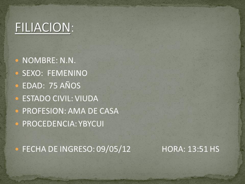 NOMBRE: N.N. SEXO: FEMENINO EDAD: 75 AÑOS ESTADO CIVIL: VIUDA PROFESION: AMA DE CASA PROCEDENCIA: YBYCUI FECHA DE INGRESO: 09/05/12HORA: 13:51 HS