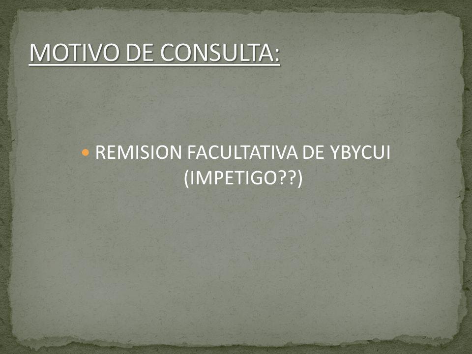 PCTE DE 75 AÑOS, RESIDE Y PROCEDE DE YBYCUI, QUE DESDE HACE UN MES ESTA CON CUADRO DE PRURITO DE LESION EN RODILLA QUE LUEGO SE AMPOLLA.