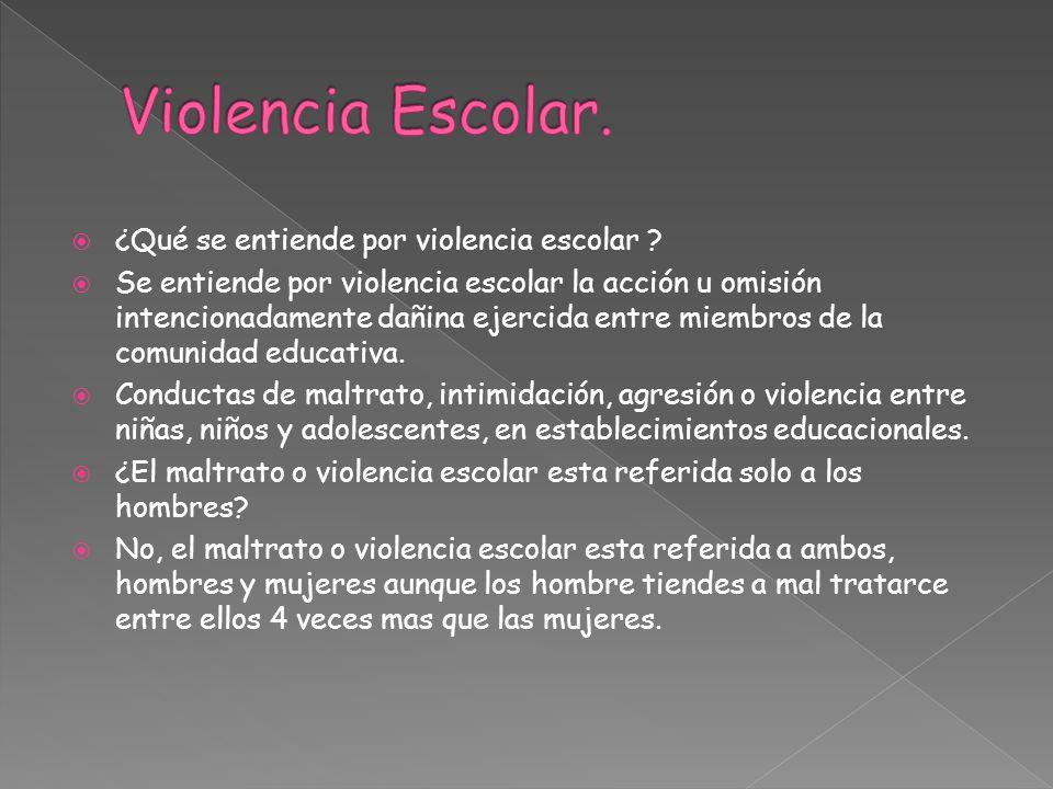 ¿Qué se entiende por violencia escolar ? Se entiende por violencia escolar la acción u omisión intencionadamente dañina ejercida entre miembros de la